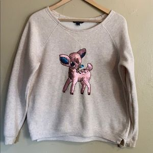 AEO | Sequined Deer Sweatshirt | Large L
